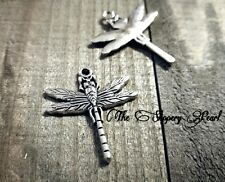 3 Dragonfly Charms Antique Silver Tone Insect Pendants Spring Garden Findings