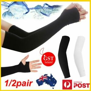 Protection Cooling Arm Sleeves Black With Hand Cover Outdoor UPF 50 Sun Sleeves