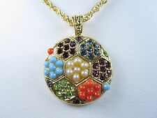 "Sandstone & Swarovski Crystals 16-18"" 0754 La Scala Gold Plated Round Pendant"