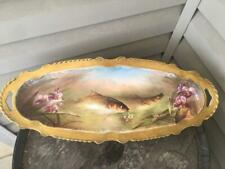 Stunning Limoges Mulville Hand Painted Fish Flowers Platter Gold Trim