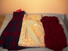 NWT AGaci 3 Skirts Teen Clothes Juniors Sizes Large, Plaid, Ruched, Metallic