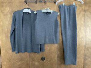 Eileen Fisher Merino 3 Pc Set Pants Sleeveless & Longsleeve Tops Petite PS 4 6
