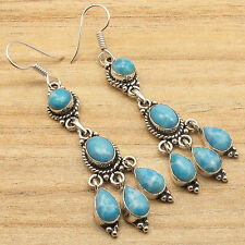 Wedding Jewelry !!! 925 Silver Plated Simulated LARIMAR Multi Gems ART Earrings