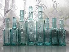 8x SMALL & LARGE VINTAGE OLD SHEAR LIP AQUA VICTORIAN SAUCE RELISH BOTTLES c1900