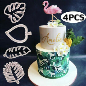 4pcs/Set Tropical Leaf Fondant Cake Mold Embossed Candy Biscuits Cookie Cutter
