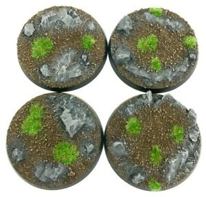 Rocks - Round Resin Bases 50 mm - 4 Painted/Unpainted Bases for Warhammer