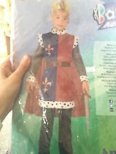 Boys Medieval Lord Knight King Arthur Kids Fancy Dress Costume Outfit With Cloak