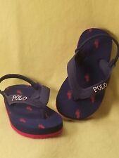 Ralph Lauren Polo Toddlers Boys Sandals Shoes Size 5C 6C Blue Red Flip Flop