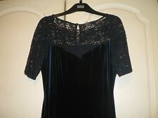 M&S DRESS SIZE 8 MIDNIGHT BLUE VELOUR WITH LACE SLEEVES AND NECKLINE  NWT