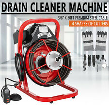 Sewer Snake Drill Drain Auger Cleaner 50'x3/8'' Electric Drain Cleaning Machine