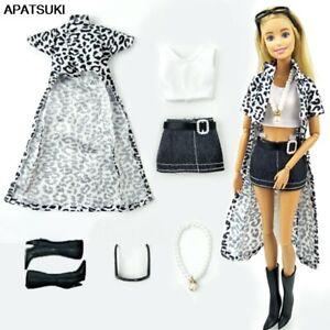 1set For 1/6 Doll Clothes Leopard Coat & Top Vest & Skirt Shoes Necklace Glasses