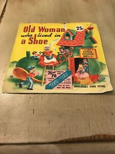 OLD WOMAN WHO LIVED IN A SHOE DING DONG BELL 78rpm Vinyl Kiddie Vintage Record