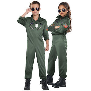 Kids 80s Fighter Pilot Costume Boys Girls 1980s Top Gun Fancy Dress Outfit Child