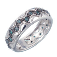 Sterling Silver Blue Diamond Ring 0.45 CT In Size 7