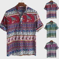 Summer Mens African Clothing Dashiki Short Sleeve T Shirt Beach Festival Tee Top