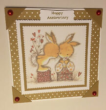 Handmade Anniversary Card cute rabbit couple hearts flowers Wedding Anniversary