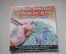 Best Adult Coloring Book - 140 Pages (Double Size) - Amazing Designs Sealed