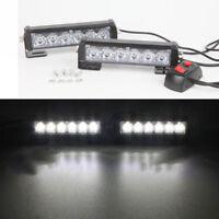 2x 6 LED White Car Vehicle Emergency Strobe Flash Light Warning Flashing Lamp