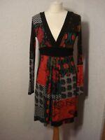 Redoute black & red/grey/green jersey dress 8-10