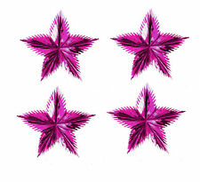4 x Pink Starburst Foil Star Christmas Hanging Decoration 3D Pull Out Star 60cm