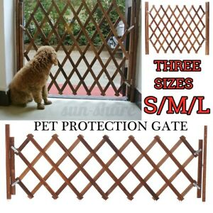 Wood Pet Dog Baby Gate Fence Folding Protection Indoor Barrier Expanding  SU