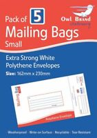 Pack of 5 Small Extra Strong White Polythene Envelopes Postal Mailing Bags New