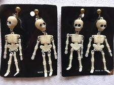Vintage Halloween Scary Skeletons  Clip On Earrings Lot Of 2 Pairs