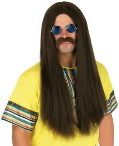 Mens 1970s Brown Long Hippie Wig for Adult 70s Hippy Fancy Dress Costume