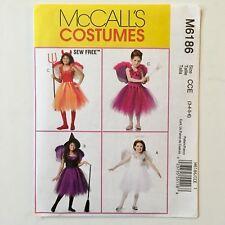 McCall's Costume Sewing Pattern M6186 Sew Free Girls Tutu Wings Sz 3 4 5 6 New