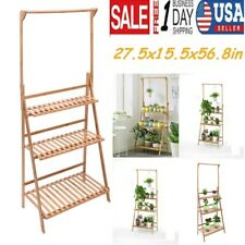 Bamboo Hanging Plant Stand Planter Shelves Flower Pot Organizer Storage Rack US