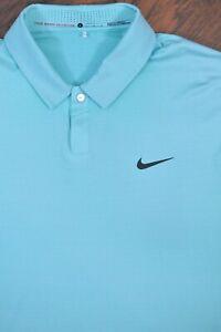 Nike Golf Tiger Woods Polo Shirt Aqua Blue Stripe Men's Large L