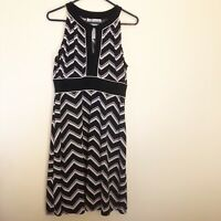 Jessica Howard Petite Womens Dress Black White Sleeveless Keyhole Front Size 12P