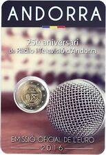 manueduc  2 Euro ANDORRA 25 ANIVERSARIO DE LA RADIO TELEVISION DE ANDORRA  UNC