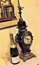 Large Antique Royal Blue porcelain and Brass 8 Day Mantle CLOCK timepiece