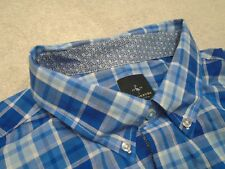 Tailorbyrd 100% Cotton Blue Check with Floral Accents Sport Shirt NWT XL $99.50