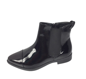Womens Ladies Black Patent Flat Heel Shoes Ankle Chelsea Boots Size UK 4 New