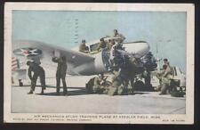 1942 POSTCARD KEESLER FIELD MS/MISSISSIPPI AIR MECHANICS TRAINING ON PLANE