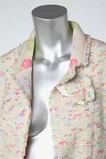 CHANEL 04A Womens Cream Multicolor Pastel Long-Sleeve Jacket Blazer Coat 38/6
