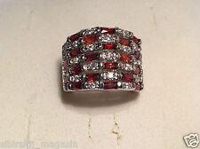 Ring Größe 8 Zirkonia Weiß, Rot, versilbert 0055