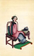More details for antique 19th-century chinese pith painting, qing dynasty seated woman seamstress