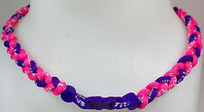 "New! 20"" Custom Clasp Braided Sports Pink Purple Tornado Necklace Twisted Neon"