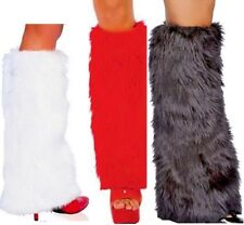 Boot Covers Black Red White Fluffy Furry Womens Rave Leg Warmers 60 s 70 s 80 s