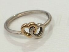 Authentic Pandora Two Tone Gold Silver Entwined Hearts to Heart Ring 190927