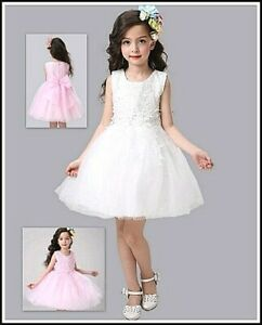 GIRLS SPECIAL OCCASION - IVORY PINK-VINTAGE LACE- FLOWER GIRL- BRIDESMAID