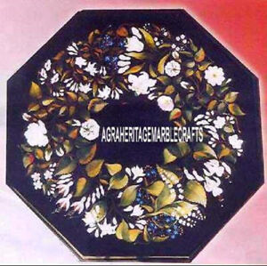 Antique Marble Coffee Table Top Beautiful Floral Inlay Living Halway Decor H4015