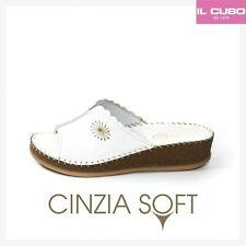 CINZIA SOFT PANTOFOLA DONNA PELLE COLORE BIANCO H 3,5 CM LEGGERE E COMODE
