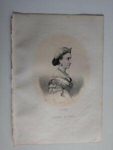 1867 Litografía Oval: María Isabel de Orleans infanta de España Condesa de Paris