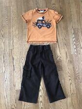 Janie & Jack 4 4T Safari Roll Cuff Brown Linen Pants & Orange Appliqué T-shirt