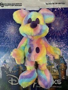 "New Disney Parks Pastel Rainbow Fuzzy Rainbow Mickey Mouse 16"" Plush Toy"