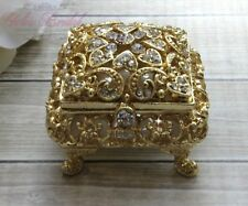Gorgeous Gold Crystal Wedding Ring Box, Beautiful Sparkling Ring Jewelry Box